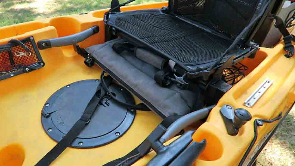 how to carry a cooler on a kayak; Below your seat
